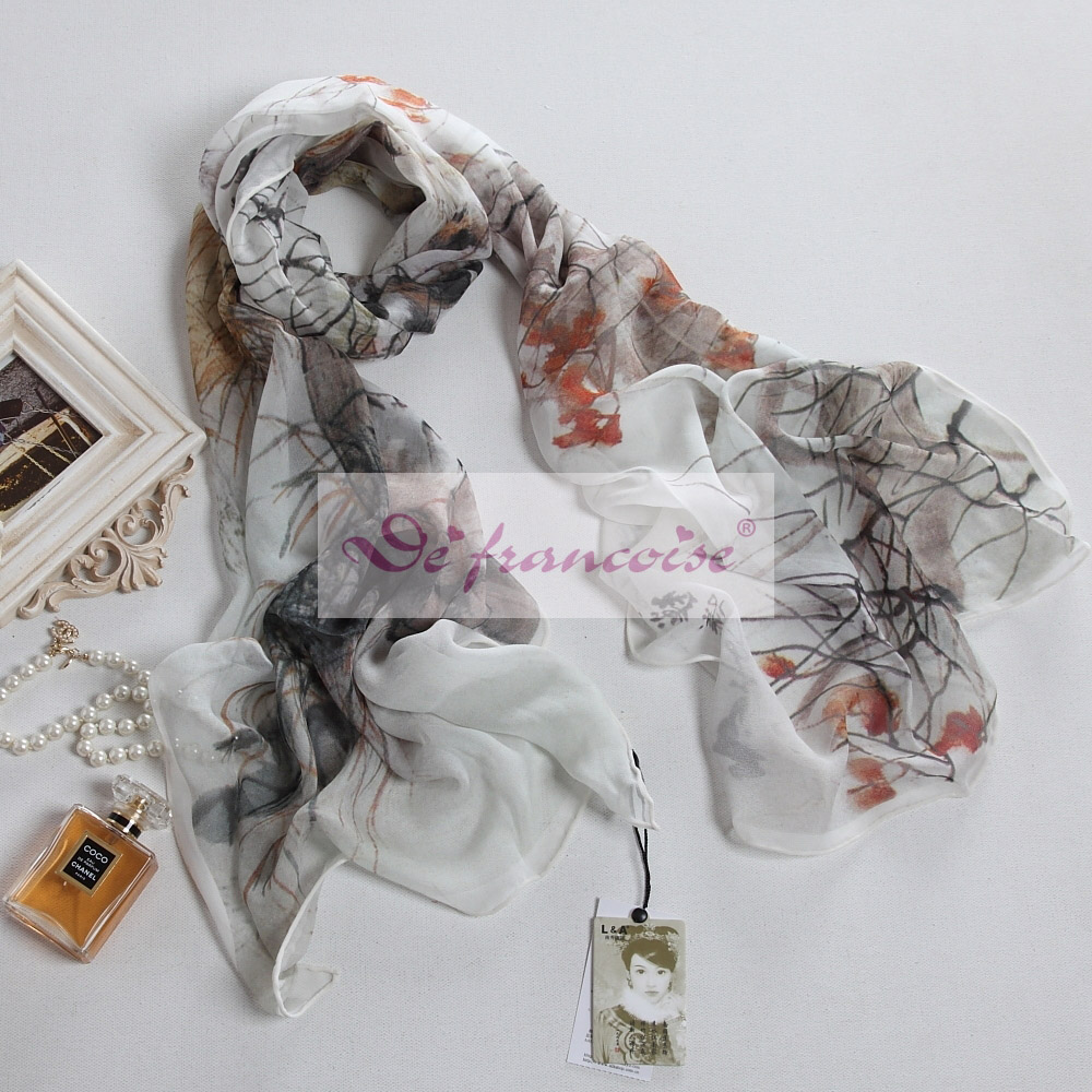 100% silk digital chinese printing oblong scarf