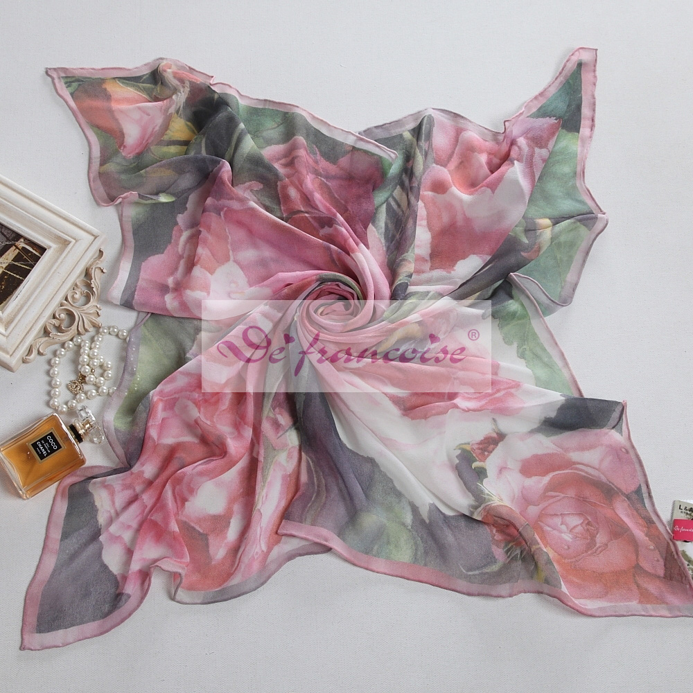 100% silk digital flower print square scarf