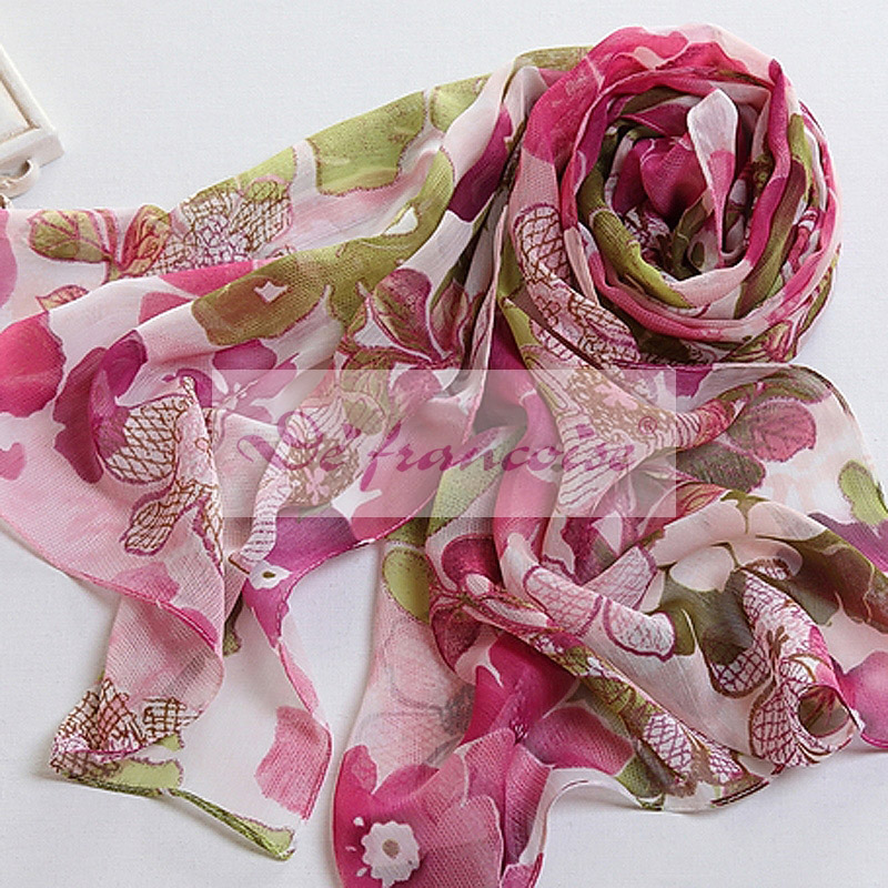 Flower pattern dignity polyester georgette scarf