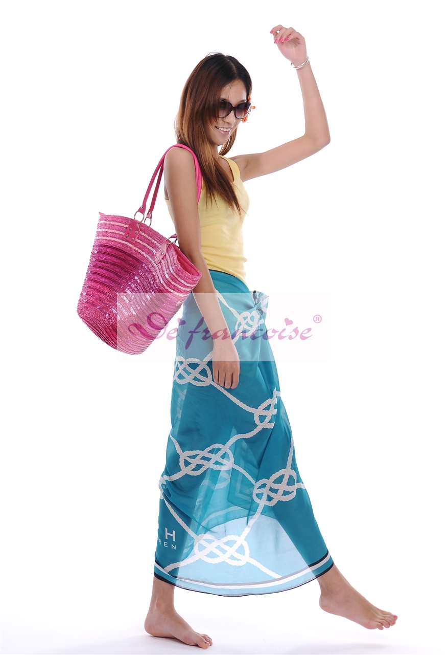 Blue printed soft feeling women sarong pareo
