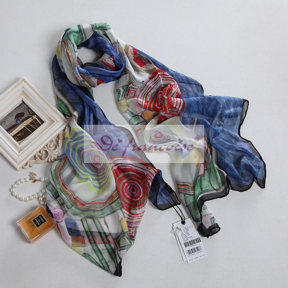 100% silk digital growth ring printing oblong scarf
