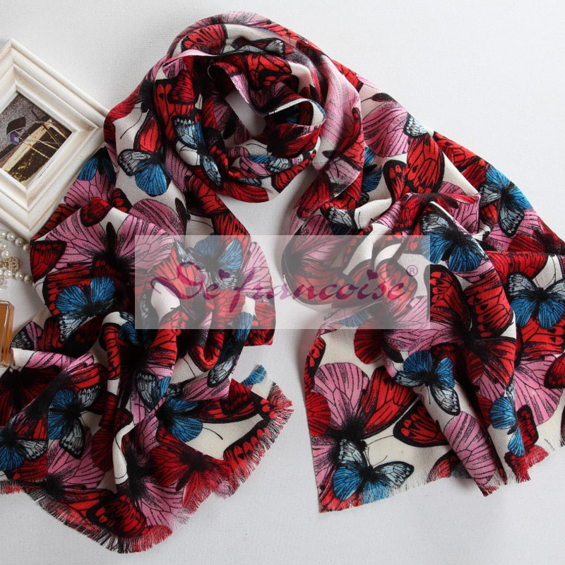 Red Butterfly printed wool scarf
