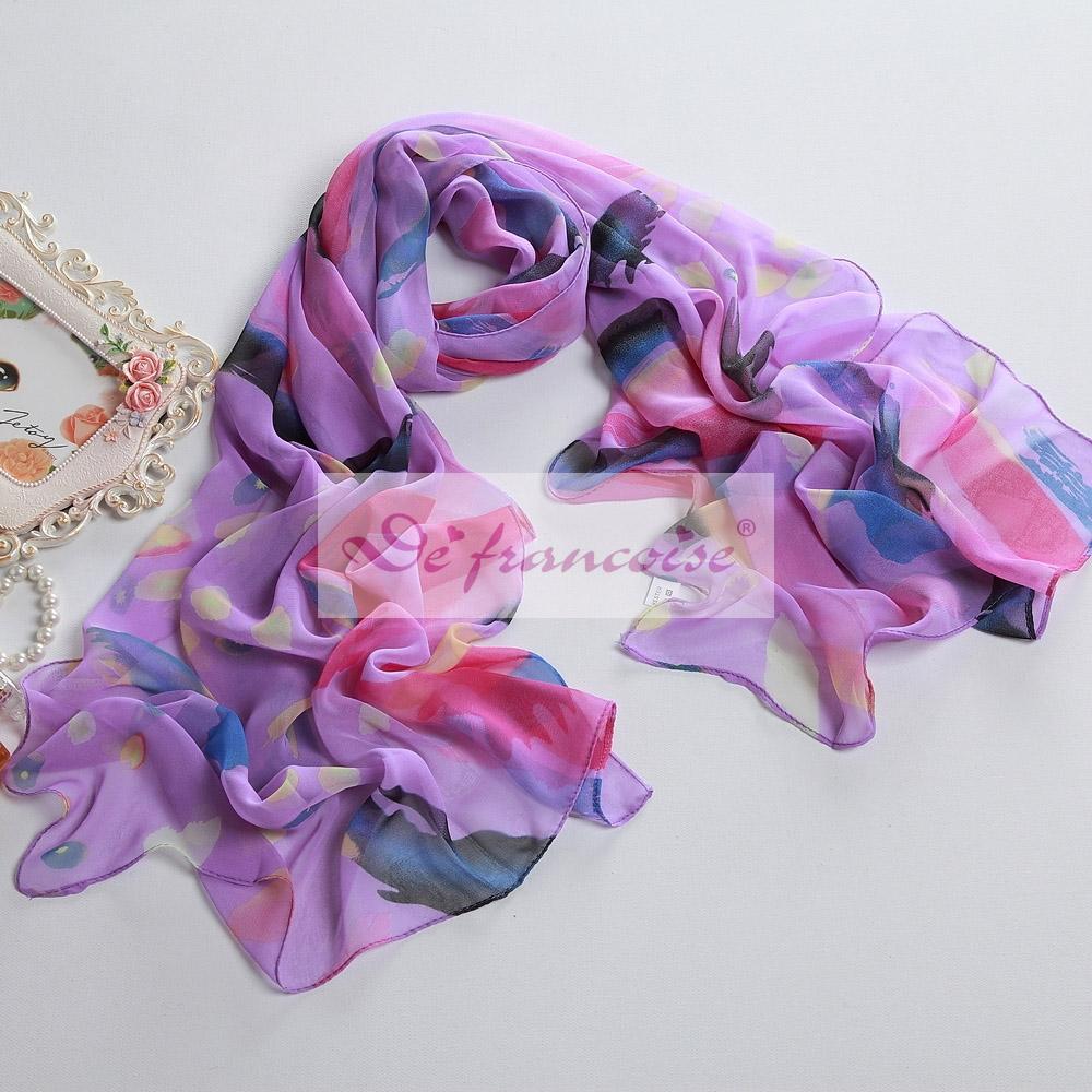 Purple women style printed chiffon oblong scarf