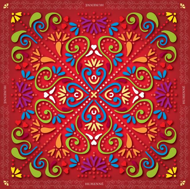 custom design silk scarf red color