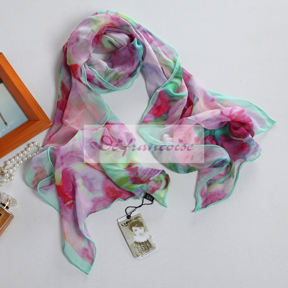 100% silk digital fashion style print oblong scarf