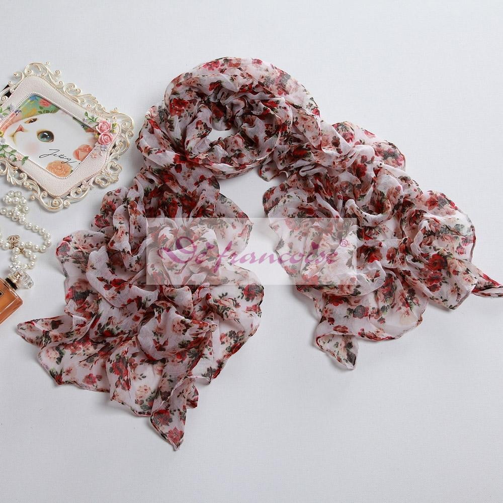 Women fashion flower print voile scarf