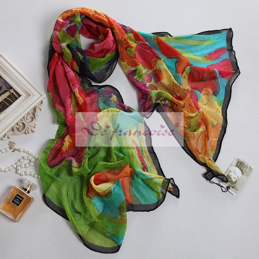 Women 100% silk digital colorful printing oblong scarf