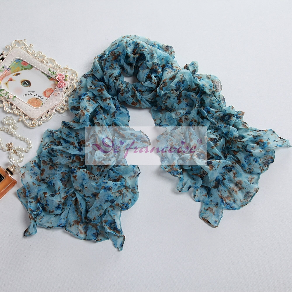 Women flower print blue voile oblong scarf