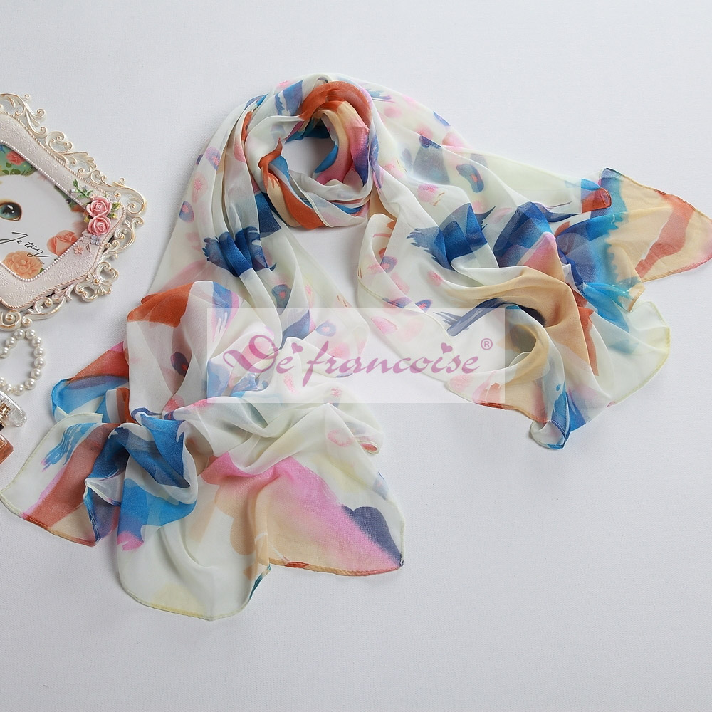 New style white printed chiffon oblong scarf