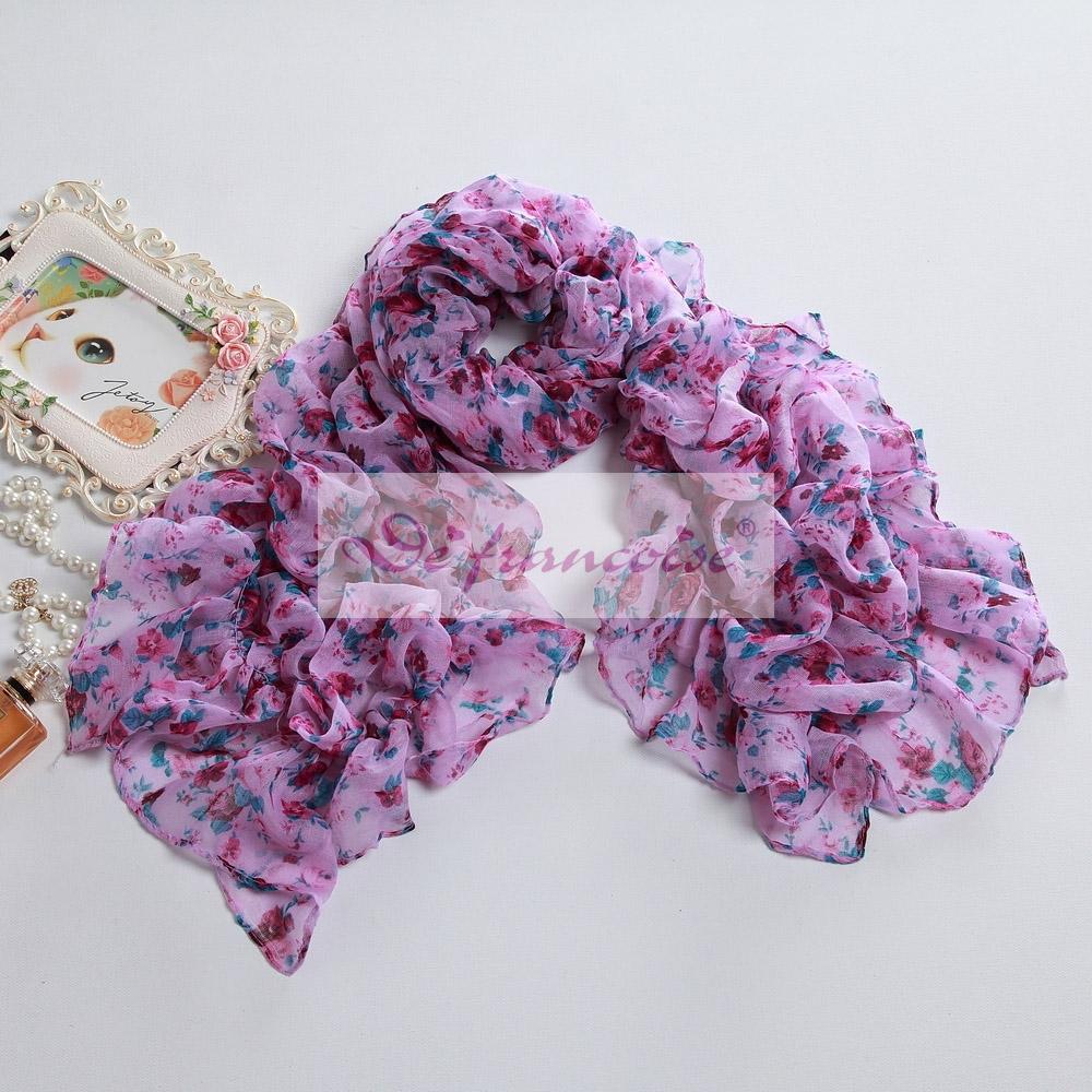 Women flower print pink voile oblong scarf