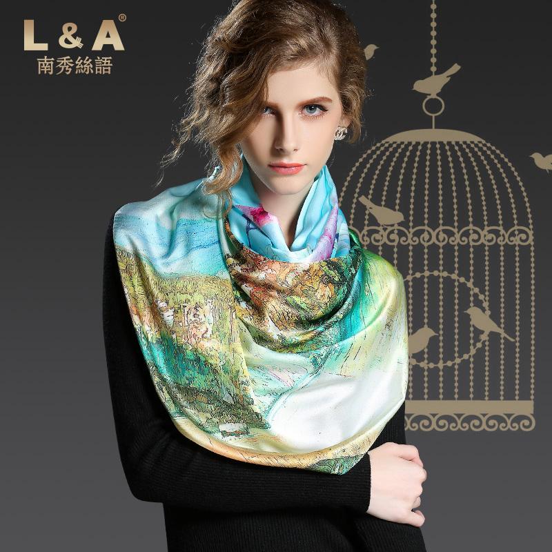 Blue flowers printed silk scarf