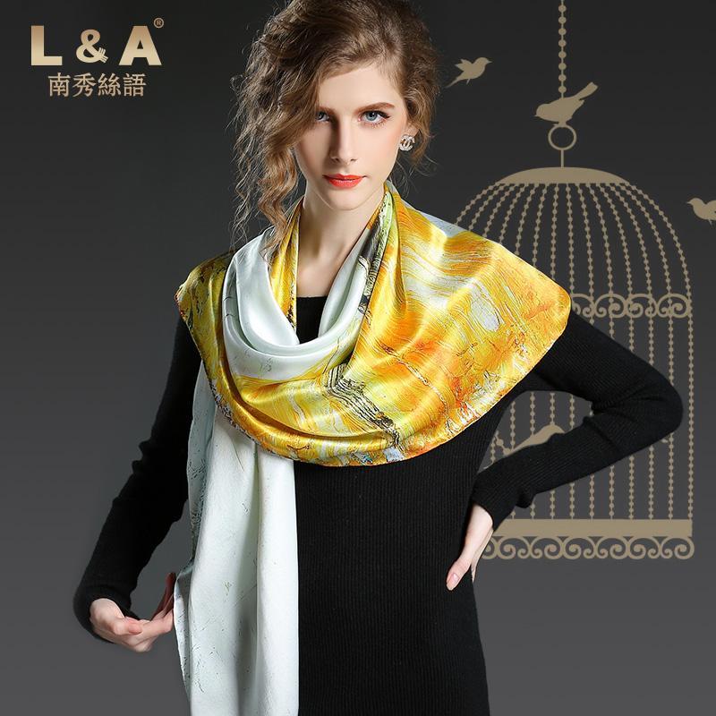 100% silk digital fashion style print squar scarf