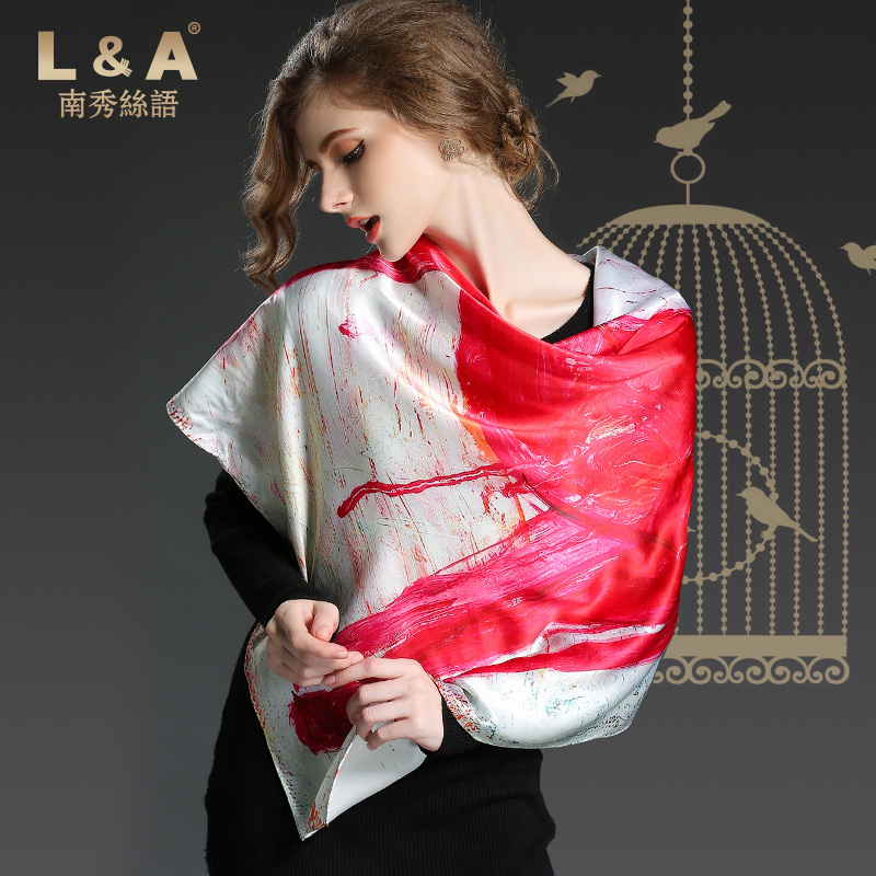 Elegant lady 100% silk digital print square scarf