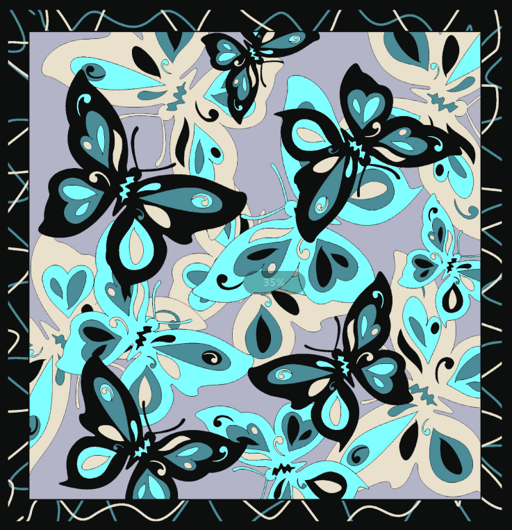 butterfly polyester scarf