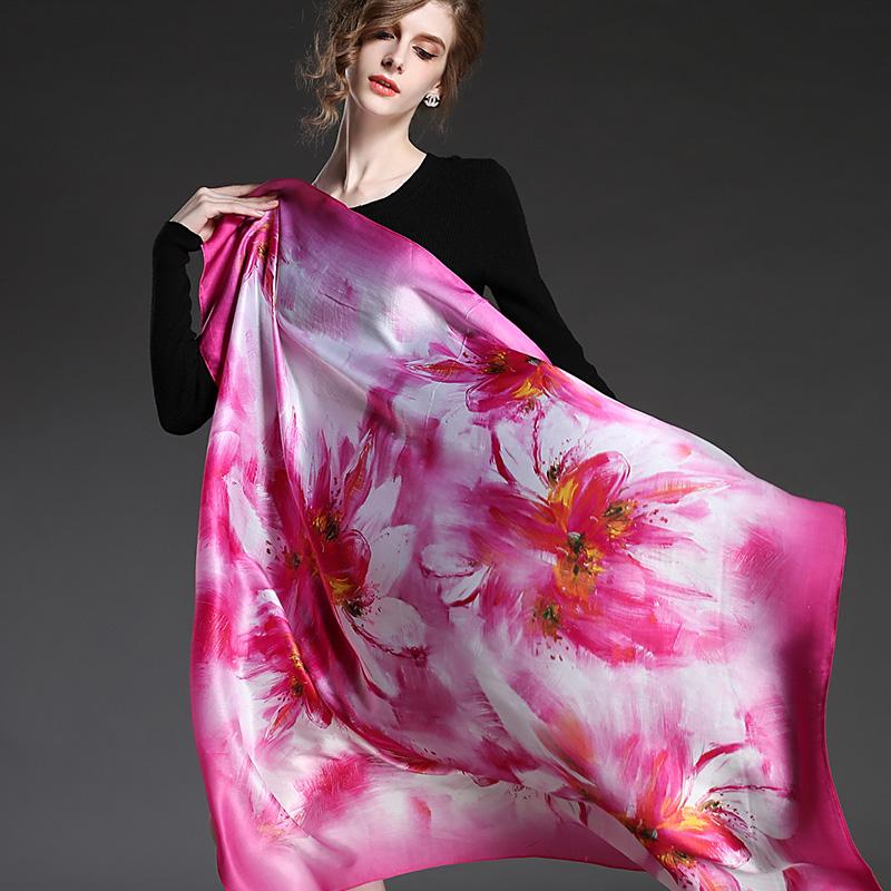 100% silk digital print pink square scarf